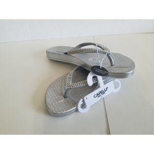 NEW Womens Silver Gem Soft Flip Flops 6 , 8, 11